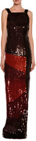 Tom Ford Sleeveless Sequined Square-Neck Column Gown, Red