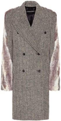 Y/Project Faux fur-trimmed tweed coat