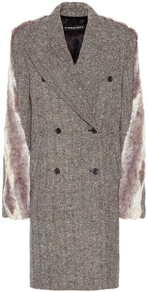 Y/Project Faux fur-trimmed tweed coat