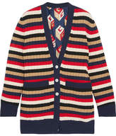 Gucci Reversible Striped Wool And Printed Silk-satin Cardigan - Navy