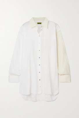 Marques Almeida Net Sustain Rem'ade By Two-tone Paneled Cotton Shirt - White