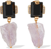 Marni Amethyst, Horn And Crystal Gold-tone Clip Earrings - Black