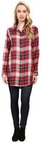 Jag Jeans Magnolia Tunic Rayon Yd Plaid in Red Wagon