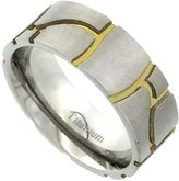 Sabrina Silver Titanium 8mm Wedding Band Stone Ring Gold Grooves Flat Brushed Finish Comfort Fit, size 11