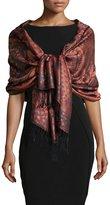 Sabira Paisley Jacquard Weave Silk Shawl, Orange Floral