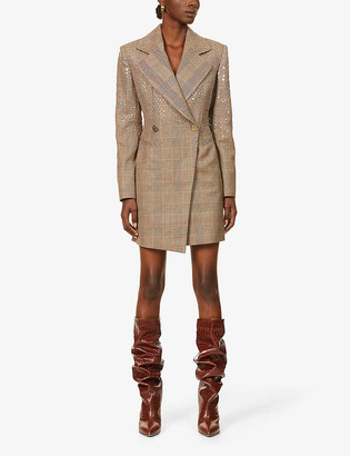 Redemption Prince of Wales check and sequin-embellished wool mini dress