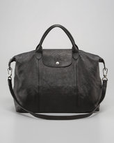 Longchamp Le Pliage Packable Leather Satchel Bag