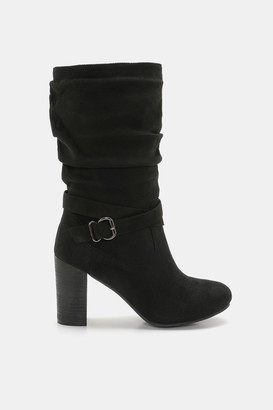 Ardene Faux Suede Block Heel Boots - Shoes |