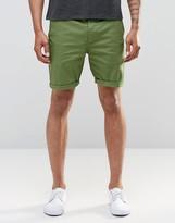 Asos Slim Chino Shorts In Green