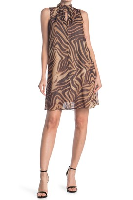 London Times Tiger Print High Neck Swing Dress