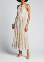 Badgley Mischka Sequin Lace Racer Halter Dress