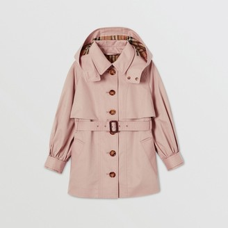 Burberry Childrens Detachable Hood Cotton Twill Trench Coat