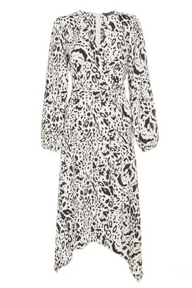 Dorothy Perkins Womens Quiz White Animal Print Wrap Midi Dress, White