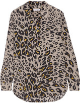 Equipment Reese Leopard-print Washed-silk Shirt - Stone