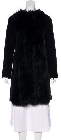 Giamba Faux Fur-Trimmed Knee-Length Coat