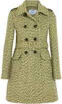 Prada Belted Double-breasted Tweed Coat