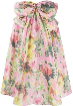 MSGM Bow-Embellished Floral Skirt