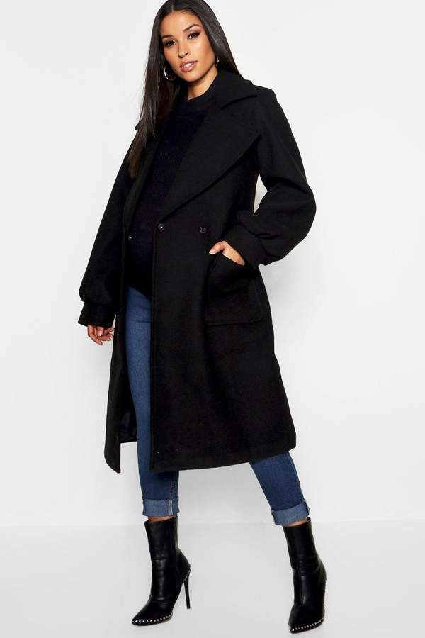 Maternity Wrap Pocket Front Coat