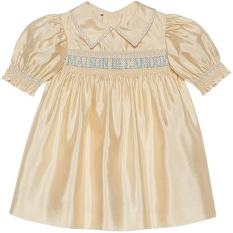 Gucci Baby silk taffeta dress with smocking