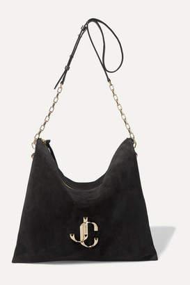 Jimmy Choo Varenne Leather-trimmed Suede Shoulder Bag - Black