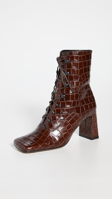 BY FAR Claude Croco Lace Up Booties