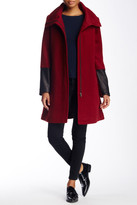 Soia & Kyo Leather Cuff Wool Blend Coat
