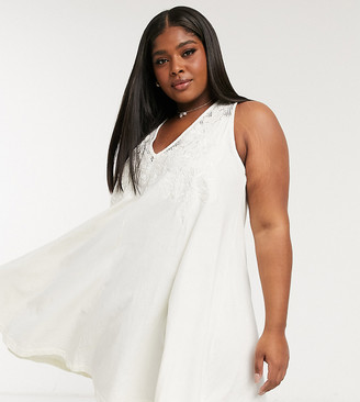 ASOS DESIGN Curve swing mini dress with embroidery detail and tie back in ivory