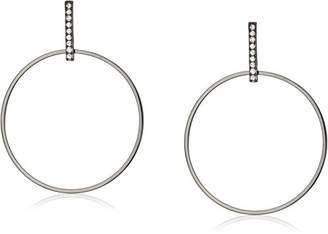 ABS by Allen Schwartz Black Magic Pave Bar With Hoop Earrings