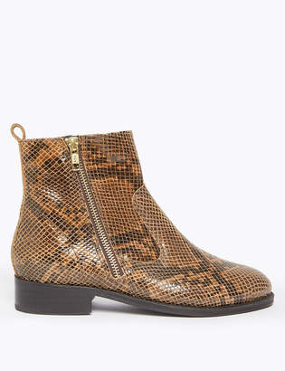 Marks and Spencer Leather Animal Print Ankle Boots