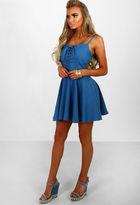 Pink Boutique Forever More Blue Lace Up Denim Skater Dress