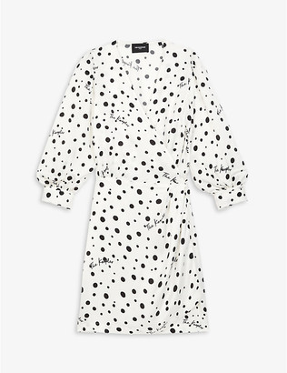 The Kooples Polka-dot crepe wrap dress