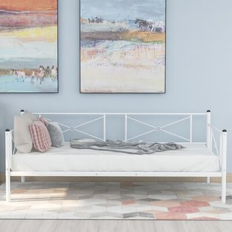 Gracie Oaks Bloomdale Twin Metal Daybed Color: White