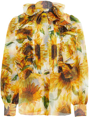 Dolce & Gabbana Pintucked Button-embellished Floral-print Silk-organza Blouse