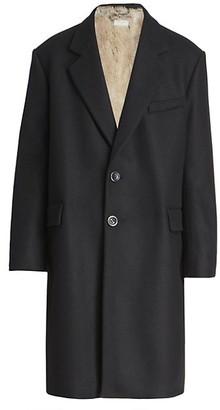 Dries Van Noten Rabbe Long Wool-Blend Coat