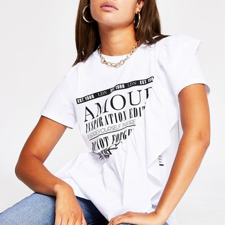 River Island White Amour Frill T Shirt