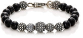 Emanuele Bicocchi Men's Beaded Charm Bracelet-Black