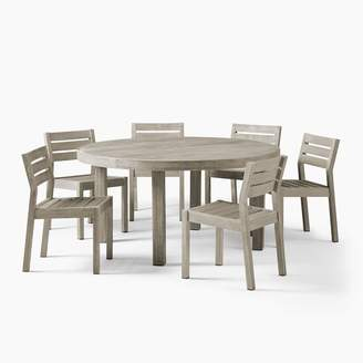 """west elm Portside Outdoor 60"""" Round Dining Table & 6 Solid Wood Chairs Set"""