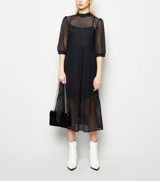 New Look Lace High Neck Midi Smock Dress
