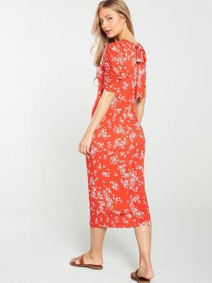 Very Ditsy Tie Back Midi Dress - Red