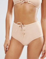 Asos Eyelet Lace Up Front High Waist Bikini Bottom