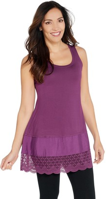 Logo by Lori Goldstein LOGO Layers by Lori Goldstein Solid Tank with Lace & Woven Trim