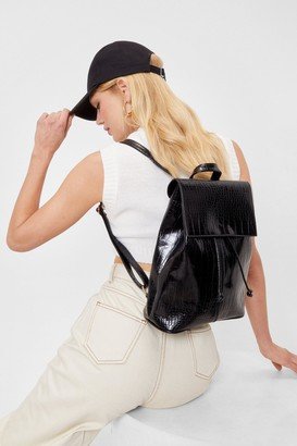 Nasty Gal Womens WANT Croc Patent Faux Leather Backpack - Black - ONE SIZE, Black