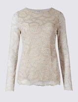 Per Una Metallic Lace Long Sleeve T-Shirt