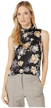 Vince Camuto Sleeveless Enchanted Floral Mock Neck Blouse (Rich Black) Women's Blouse