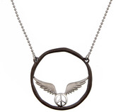 Agrigento Designs Flying Peace Sign Circle Pendant Necklace