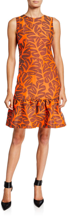 Akris Punto Sleeveless Tropical Leaf Jacquard Dress