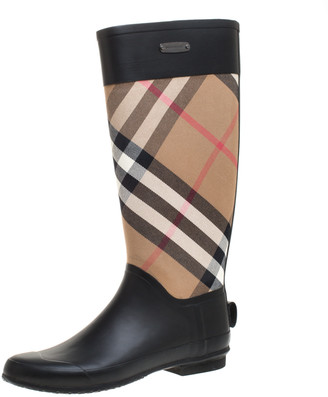 Burberry Black/Beige House Check Fabric and Rubber Clemence Rain Boots Size 40