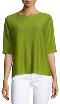 Eileen Fisher Bateau-Neck Organic Linen Box Top