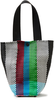 Truss Le Sac Leather-trimmed Striped Raffia-effect Woven Shoulder Bag