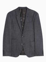 TopmanTopman Navy Gingham Check Skinny Fit Warm Handle Single Breasted Suit Blazer With Notch Lapels